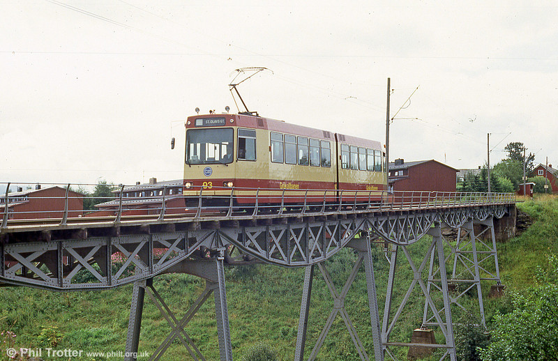 Trondheim car 93 crossing the bridge at Hoem on 7th August 1991.