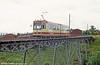 Trondheim car 93 crossing the bridge at Hoem on 7th August 1991.