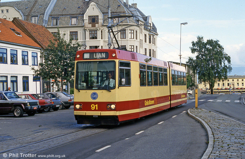 Car 91 at Tordenskiolds Gate on 7th August 1991.