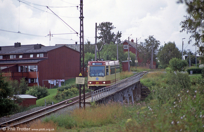 Car 91 at Hoem Bridge on 7th August 1991.