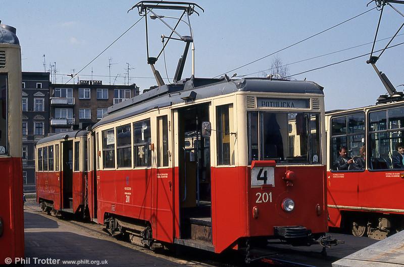 Szczecin Konstal 4N car 201 at Pomorzany terminus.