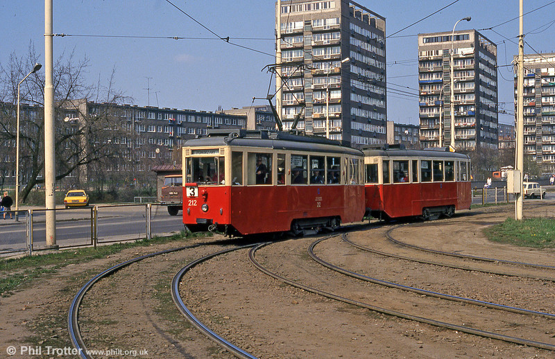 Szczecin Konstal 4N car 212 at Pomorzany terminus.