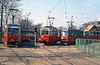 Szczecin Konstal 4N car 233 between Konstal 105Na 780 and Konstal 105N 666 at Pomorzany terminus.