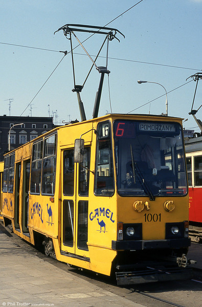 Again with an inevitable cigarette advert, Konstal 105N no 1001 is seen at Pomorzany terminus,