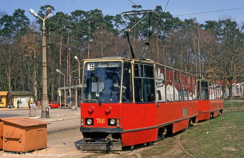Konstal 105Na no. 766 at Głębokie terminus.