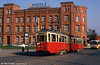 Szczecin (PL) Konstal 4N car 284 is seen in front of the main Marktplatz Post Office on 16th April 1993.