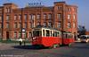 Szczecin (PL) Konstal 4N car 284 is seen in front of the main Marktplatz Post Office on 16th April 1993.