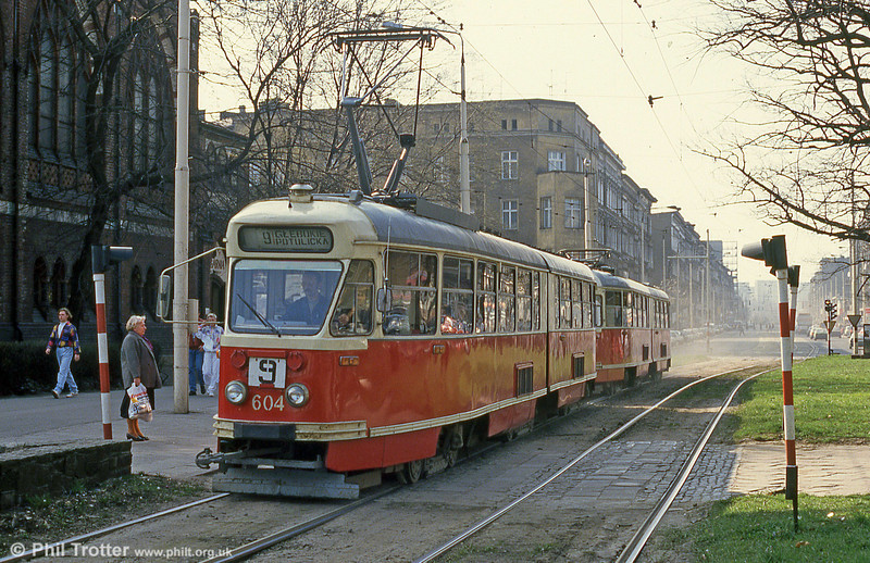 604 is a Konstal 102Na car, built in the arly 1970s and seen at Plac Zwycięstwa. All had been retired by 2008 but sister 606 has been preserved.