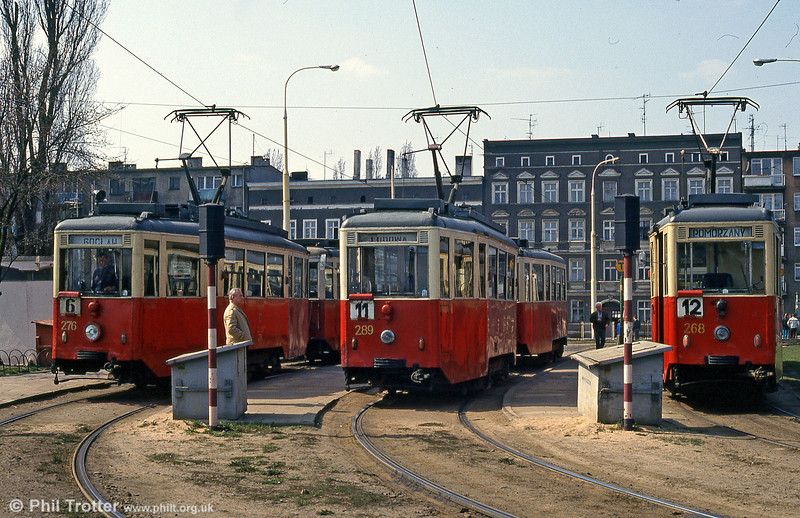 A line up of Szczecin Konstal 4N cars 276, 289 and 268 at Pomorzany terminus.