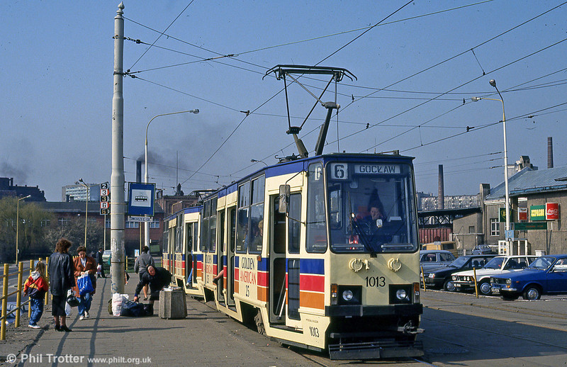 Szczecin car 1013 at Glowny Station on 16th April 1993. (First published in Light Rail & Modern Tramway 5/94).