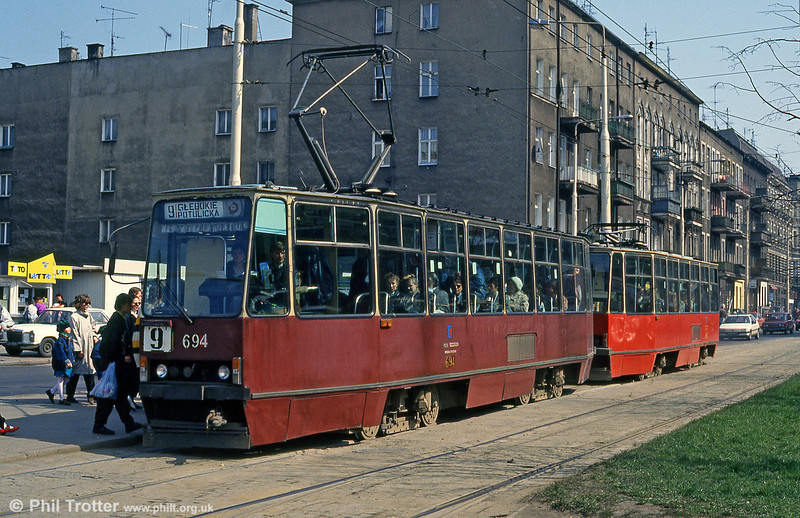 Konstal 105N no. 694 at Plac Tadeusza Kościuszki.