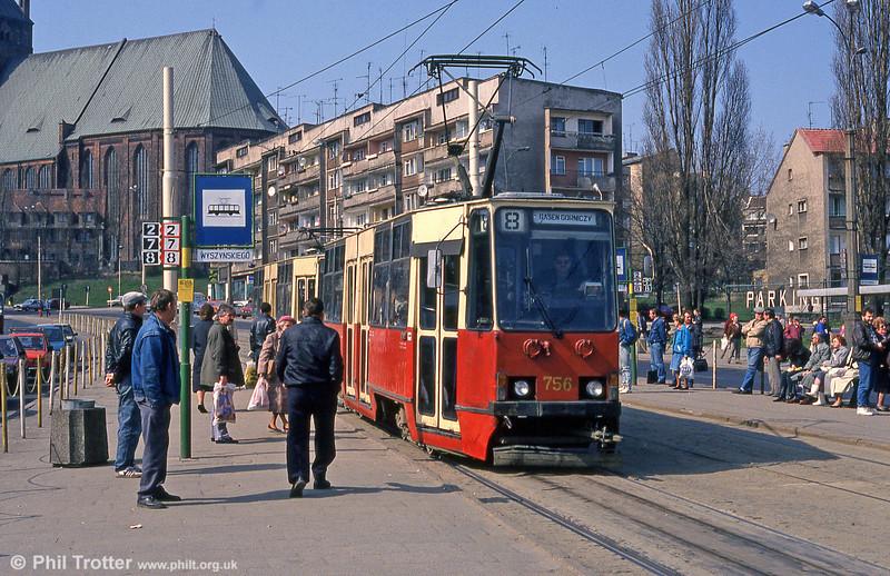 Szczecin 105Na car 756 at Wyszynskiego, near St. Jacob's Cathedral, on 16th April 1993. (First published in Light Rail & Modern Tramway, 5/94).