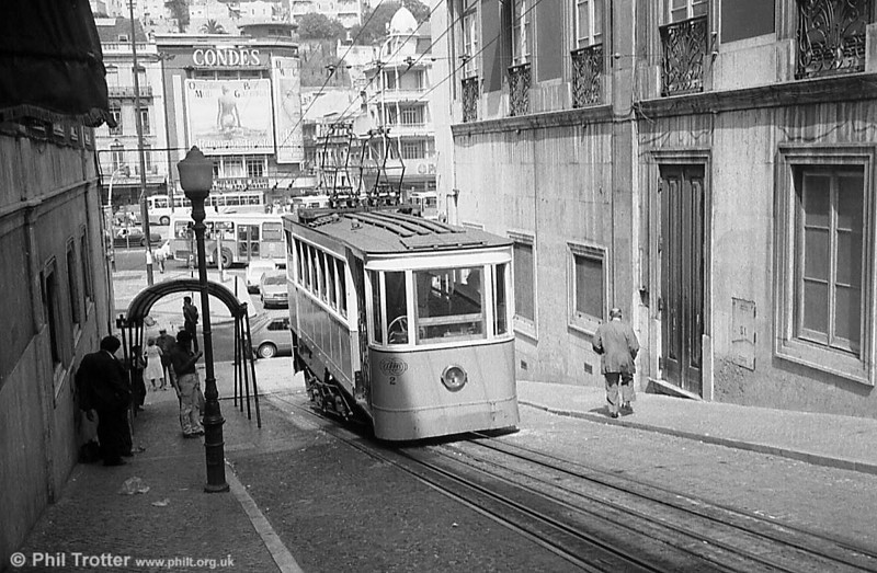 Some views of Lisbon's Gloria funicular lines. This is car 2 of the Gloria line in July 1983.