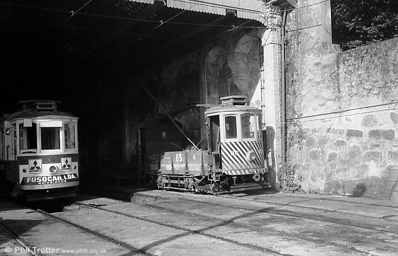 Oporto 65, a former coal car, at Massarelos depot in June 1983.