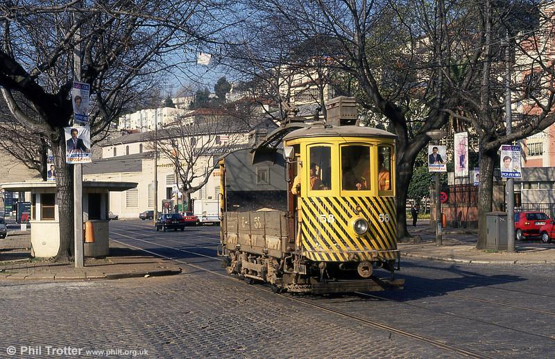 Oporto former coal car, now works car 58 at Massarelos on 26th November 1993.