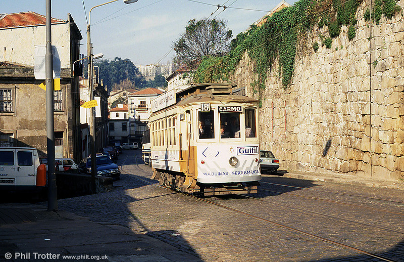 Oporto 221 climbs Rua Restauração towards Carmo on 26th November 1993.