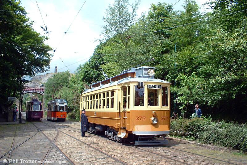 Sociedade dos Transportes Colectivos do Porto (Oporto) 273 in action at Crich, UK on 12th June 2005.