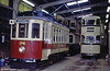 Beamish ex-Oporto car 196 restored to a ficticious 'Beamish Tramways' livery in the depot at Beamish, UK on 8th November 1992.