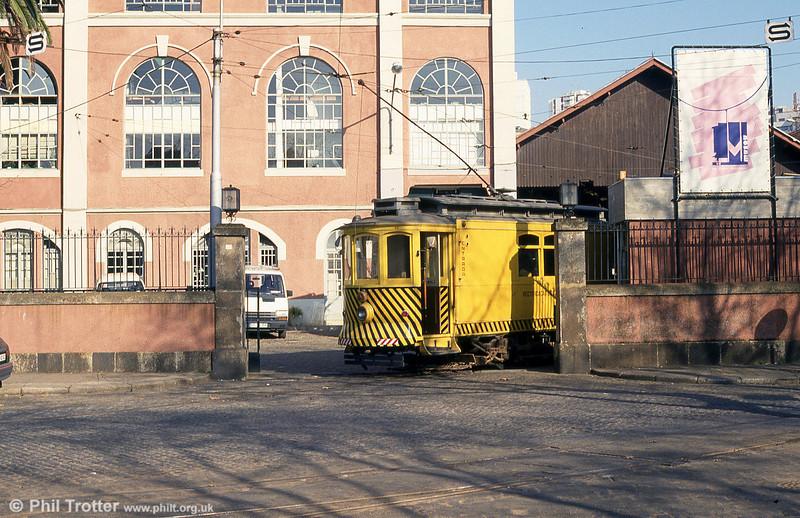 Railgrinding car 48 at Massarelos depot on 26th November 1993.