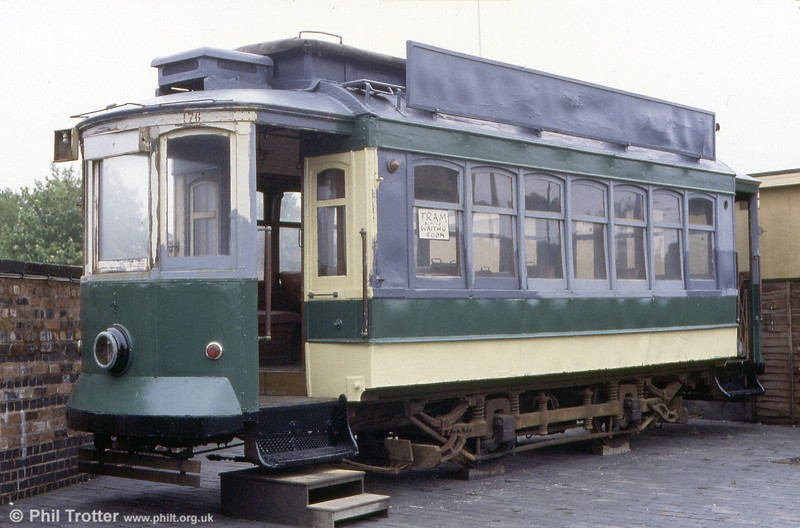 One of a number of former Oporto cars now in the UK, this is 176 serving as a tramway waiting room at the Black Country Museum, UK on 10th September 1989.