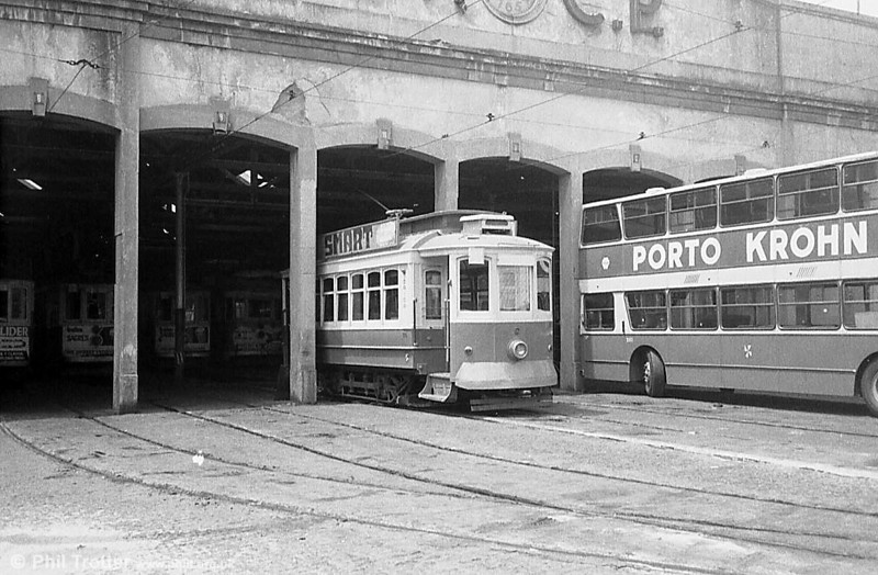 An unidentified Oporto car at Boavista depot (since demolished) in June 1983. What gems lie hidden within?