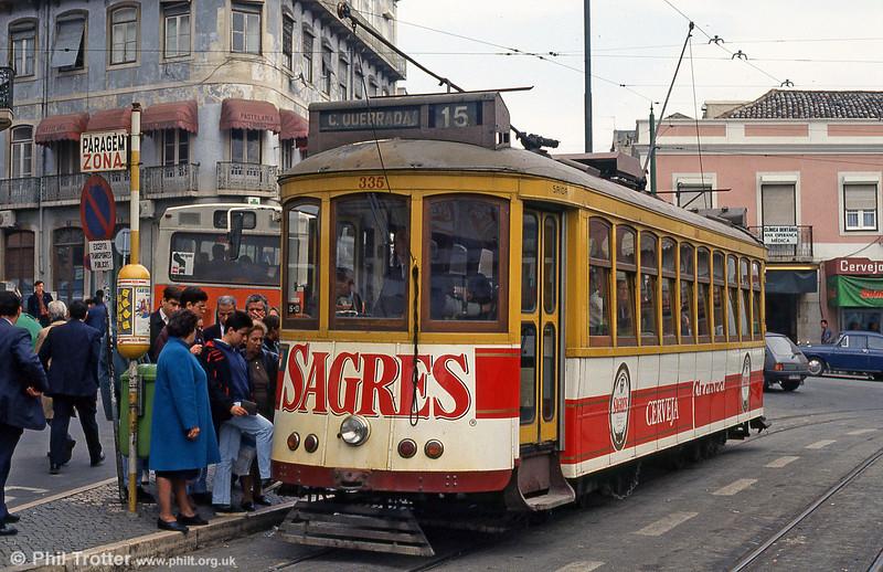 Car 335 at Largo Calvário on 23rd November 1993.