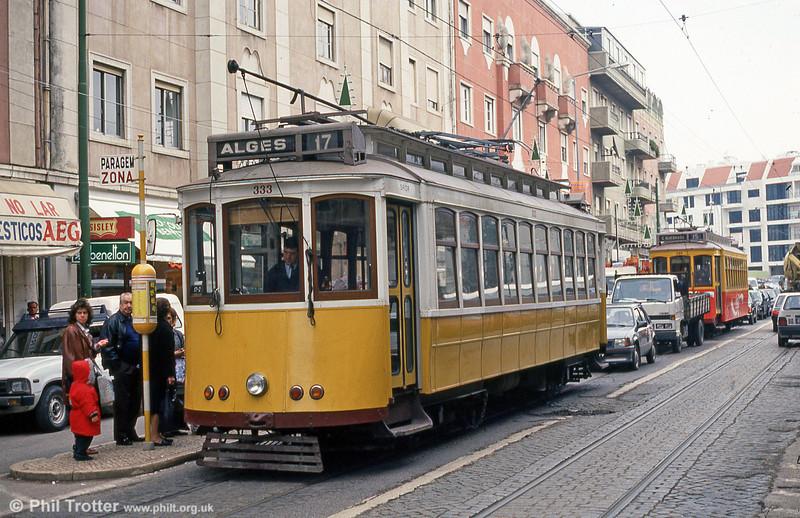 Recently ex-works car 333 on Lisbon route 17 near Alges on 23rd November 1993.