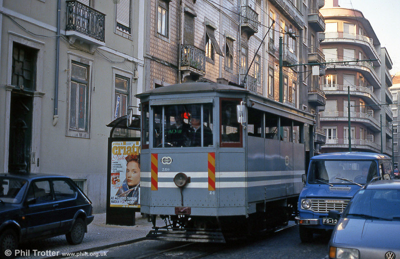 Lisbon water car 389 at Praca do Chile on 24th November 1993.