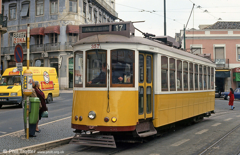 Car 357 at Largo Calvário on 23rd November 1993.