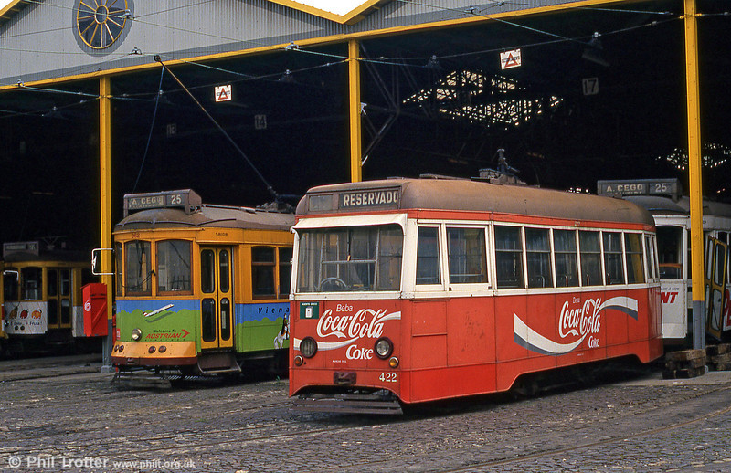 Caixote car 422 at Santa Amoro depot on 23rd November 1993.These single end cars were constructed in 1952-63 with the use of the trucks and electric equipments of older cars, retaining their numbers. The doors were air operated.