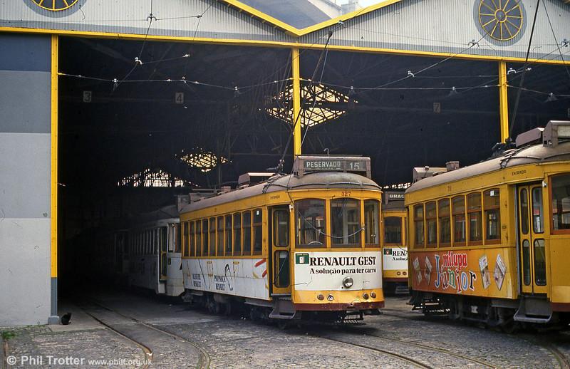 Car 327 at Santa Amoro depot on 23rd November 1993.
