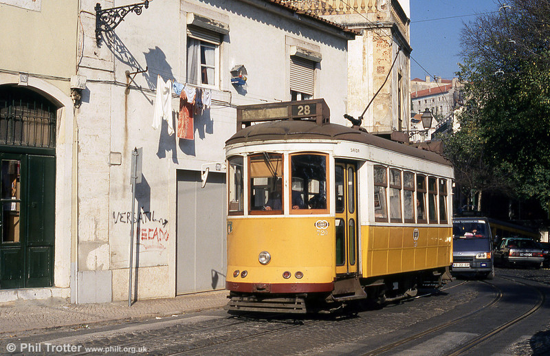 It's wash day in Lisbon, as car 720 - one of the very few not to carry advertising - runs through Sao Tome on 25th November 1993.