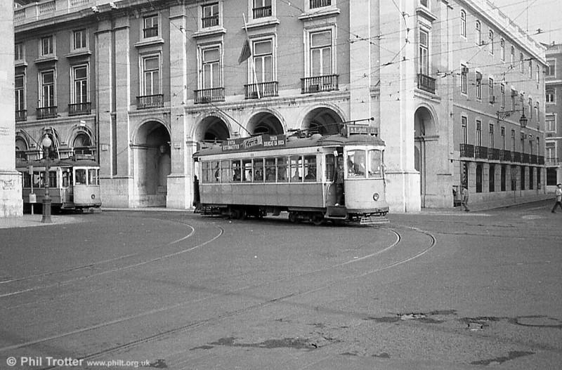 329, one of Lisbon's bogie cars, at Praça do Comércio.