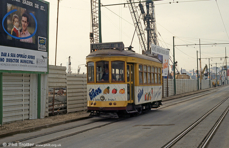 Car 717 at Cais do Sodré on 23rd November 1993.