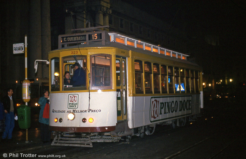 An evening shot of Lisbon 323 at Praca do Comercio on 27th November, 1993. Lisbon is recommended for Christmas shopping!