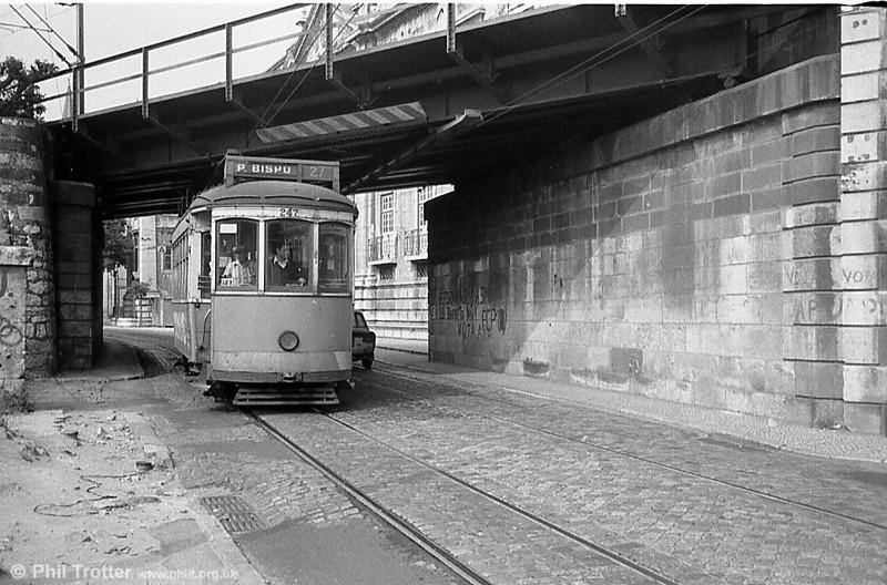 Lisbon 247 passing under the railway bridge at Xabregas.