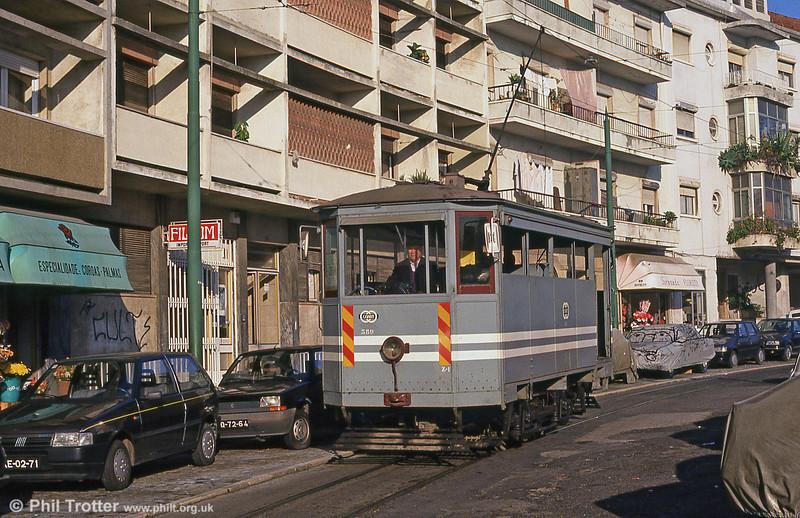 Lisbon water car 389 at Alto de São João on 24th November 1993.