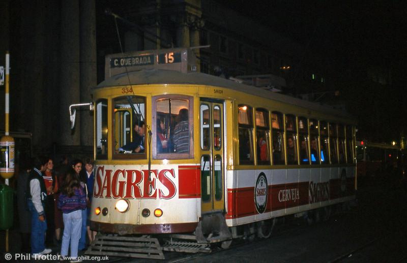 Car 334 at Praça do Comércio on 25th November 1993.
