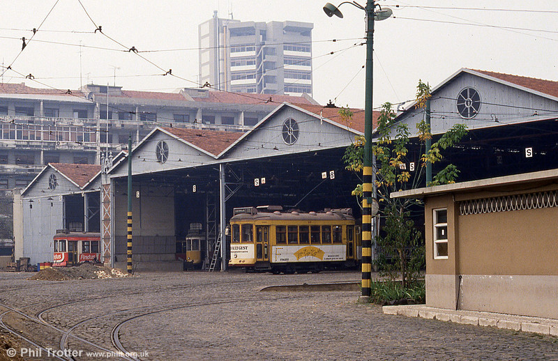Car 327 at Santa Amoro depot on 23rd November 1993.