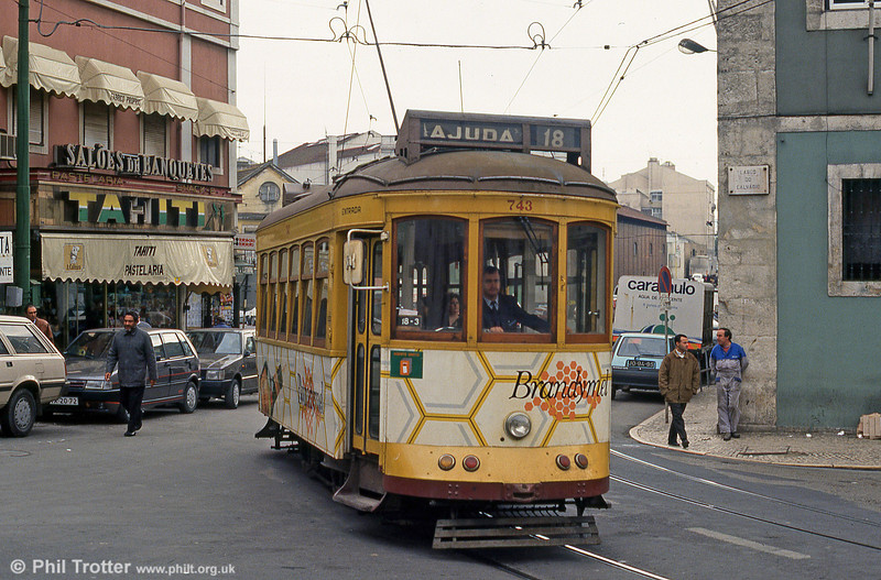 Car 743 at Largo Calvário on 23rd November 1993.
