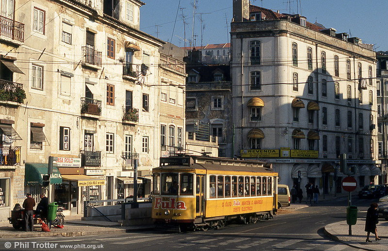 Lisbon 339 at Martim Moniz on route 17 to Praca do Chile on 25th November 1993.