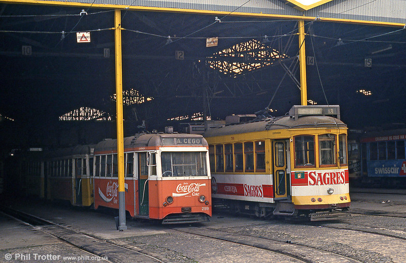 Cars 299 and 709 at Santa Amoro depot on 23rd November 1993.