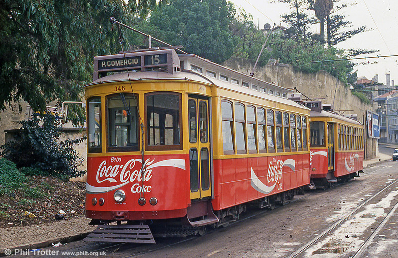 Car 346 and 349 at Cruz Quebrada terminus on 23rd November 1993.