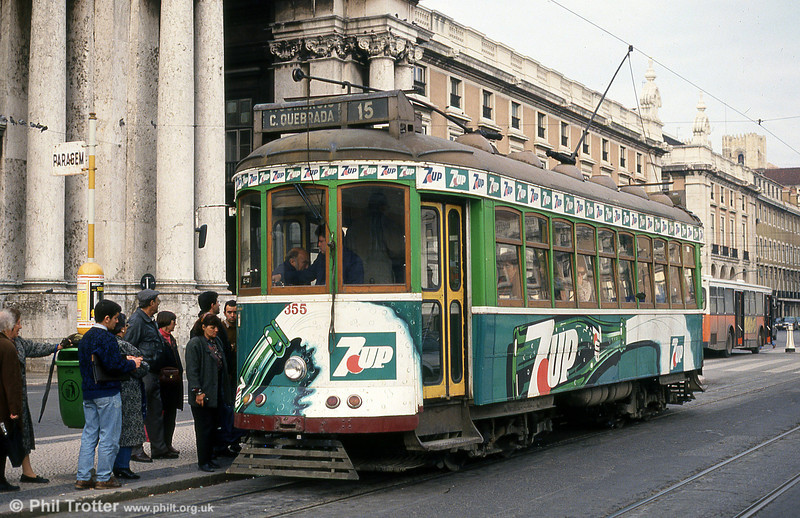 Car 355 at Praça do Comércio on 23rd November 1993.