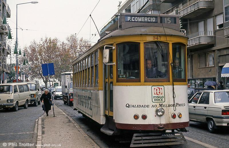 Car 347 at Alges terminus on 23rd November 1993.