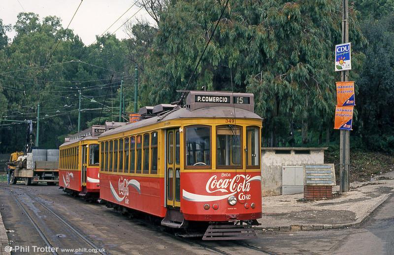 Cars 346 and 349 at Cruz Quebrada terminus on 23rd November 1993.