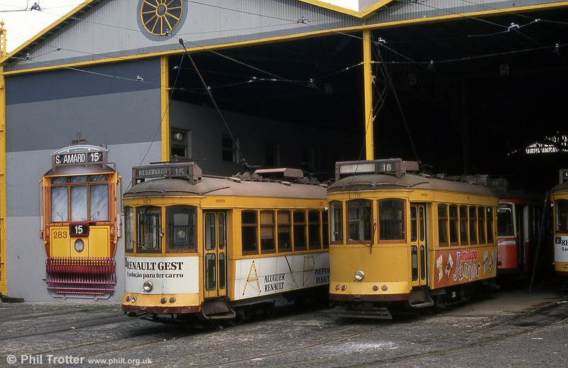 Lisbon cars 327 and 711 at the neatly decorated Santo Amoro Depot, 23rd November 1993.