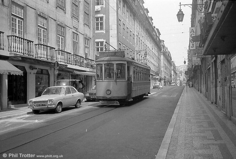 The almost deserted streets of central Lisbon provide a location for car 331, dating from 1906.