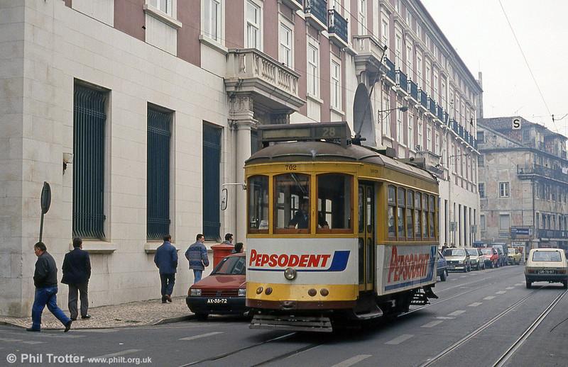 Car 702 in  Calcada do Combro on 27th November 1993.