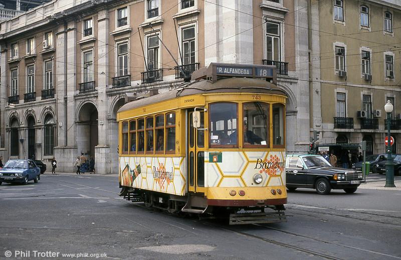 Car 743 at Praça do Comércio on 23rd November 1993.